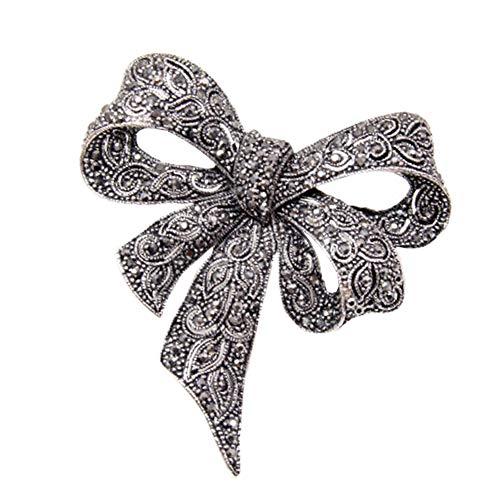 Sprießen Vintage Damen Strass Brosche, schwarze Brosche Bow Brosche, Modeschmuck, Oberbekleidung, eleganten Stil als Geschenk für Frauen