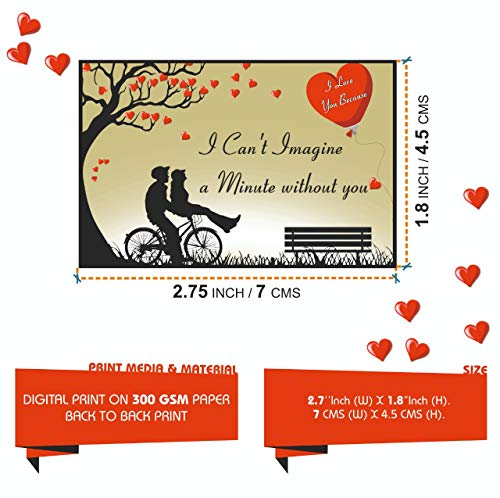 Vantagekart 100 Reasons Why I Love You Romantic Cards Which is Ideal for Husband/Wife/Girlfriend/Boyfriend Birthday and Marriage Anniversary Gift (7cm x 4.5 cm)
