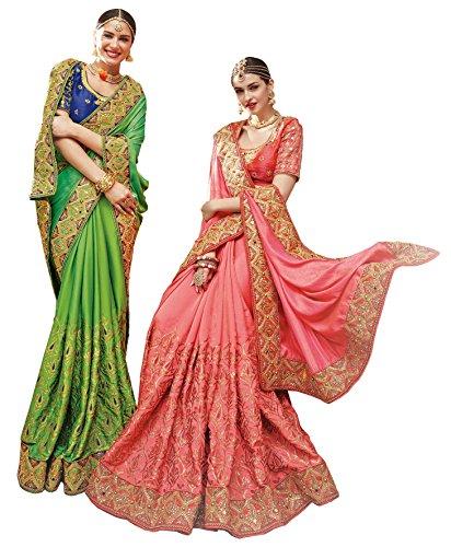 Magneitta Women's Ethnic Wedding And Party Wear Heavy Handwork Designer Sari Heavy...