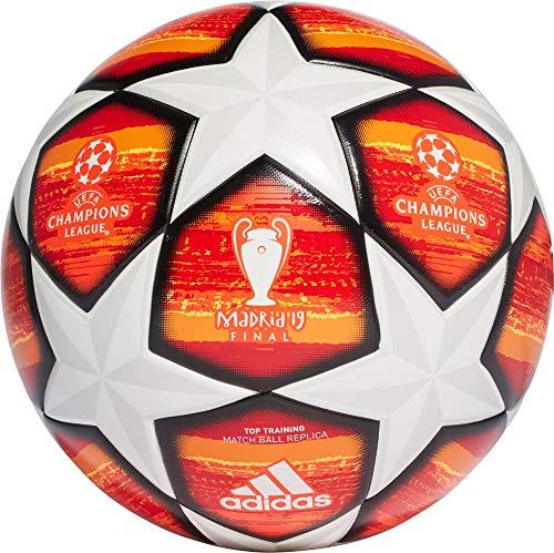 adidas Herren Finale M TTRN Soccer Ball, top:White/Active Scarlet red Bottom:Bright orange/Solar Gold/Black, 5