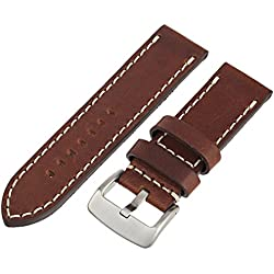 Tech Swiss LEA1555-26 26 mm leather calfskin brown watch band.