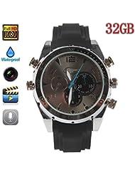 Boriyuan Fashion relojes 32GB populares HD 1080P Visión nocturna de grabación función resistente al agua Spy Cámara reloj