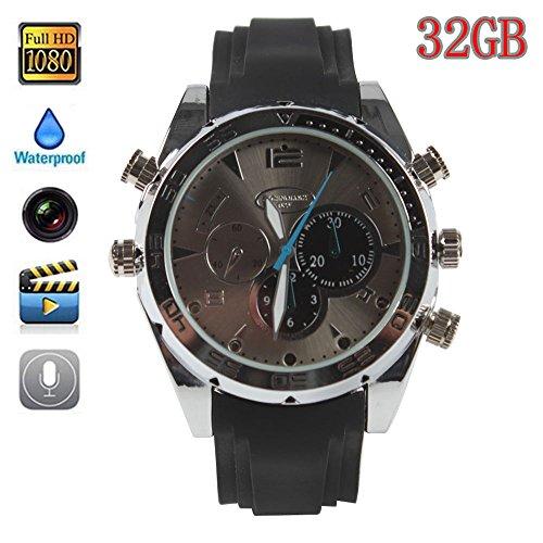 Boriyuan modische Uhr, 32GB, beliebtes HD (1080P), Nachtsicht-Aufnahmefunktion, wasserdichte Uhr mit Kamera Security Spy Cam Kamera