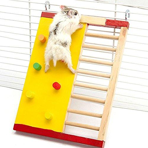 Toruiwa 1X Hamster Spielzeug Hölzerne Bunte Brücke Klettern Ladder Zubehör für Hamster Nager Mäuse Spielzeug