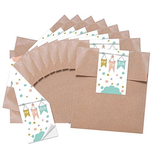 25 kleine braune Papiertüten Tütchen 13 x 18 + 2 cm Lasche mit Aufkleber NUR FÜR DICH in Pastell-Farben rosa mint-grün hell-blau weiß Geschenktüten Verpackung für Gastgeschenke give-away