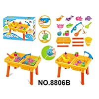 Vinsani® 17PC 2 Section Sand & Water Fishing Activity Play Table Set with Accessories for Kids - Yellow