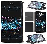 CoverHeld Hülle für Samsung Galaxy S6 Edge G925 Premium Flipcover Schutzhülle aus Kunstleder Flip Case Motiv (1155 Music Noten Schwarz Blau)
