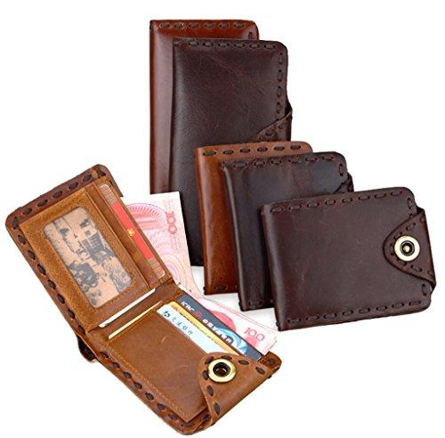 Super Modern Echtleder Wallet Geldbörse Leder Tasche Kreditkarte Holders Herren handgefertigt Flughafen Fall Coffee Size:1
