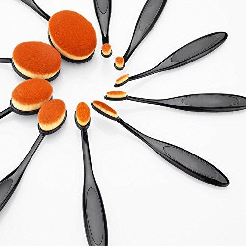 Multifunktionale Oval Make up Pinsel, Holife 10 Stk Hautverträgliches Zahnbürsten Pinsel Set, Kosmetik Pinselset Oval mit Weichen Naturhaare für Puder, Rouge, Eyeliner usw (Leicht zu Säubern)
