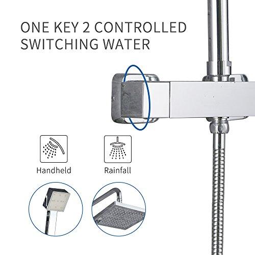 Homelody – Duscharmatur mit Thermostatfunktion und LED-Regendusche, Chrom - 4