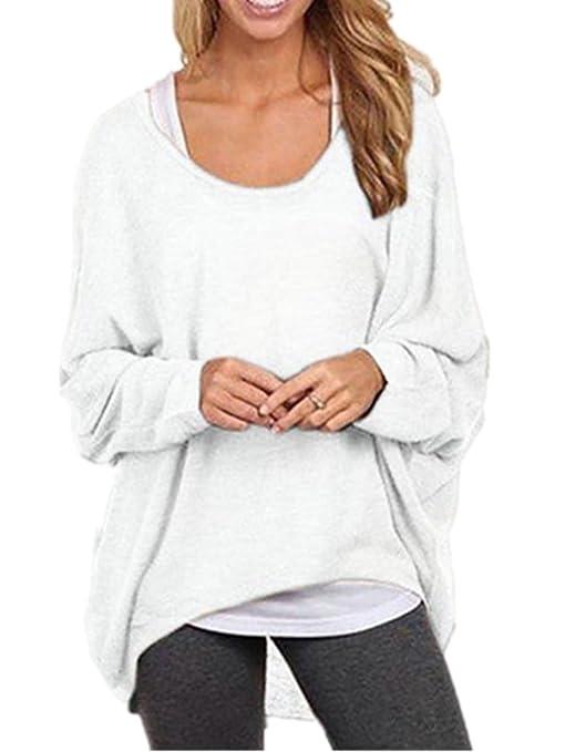 Blansdi Damen Frühling Herbst Lose Asymmetrisch Langarm Rundhals Sweatshirt  Pullover Bluse Oberteile Oversized Tops T-shirt Gestrickte Tops Hemd:  Amazon.de: ...