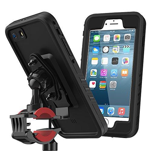 iPhone 6 / iPhone 6s Wasserfeste Hülle, Moonmini Ultra Slim Fahrrad Halterung Waterproof Case Tasche Stoßfest Full body Schutz Cover Outdoor HandyHülle mit drehbarem Fahrrad-Lenkerhalter für iPhone 6 / iPhone - Wasserdichte 6 Handy Cover Iphone