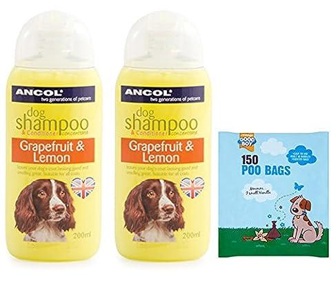 Meilleur Sentent Shampoing et après-shampoing Pamplemousse et citron–2x 200ml Ancol Fresh Shampoing pour chien pour les chiens et les odeurs–Y Compris 150parfumée Poo Sacs