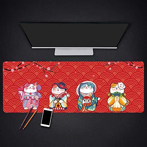 Erweitertes Gaming Mousepad,Rote Katze,Japanisches Kostüm,Tier,Große Größe Wasserdichte Breite Lange Funktionale Rutschfeste Gummibasis Kompatibel Mit Laser Und Optischen Mäusen Tastatur Pad (Katze Und Der Kontrolle Tier Kostüm)