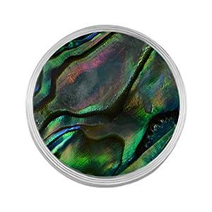 Quiges Edelstahl Austauschbare Mini Coin 12mm Wechselstein Natur Regenwald Grün Abalone Muschel für Ringe-Ohrringe-Anhänger-Armband Halter