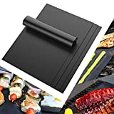 QJiang Set of 4 BBQ Grill Mats - Non Stick, Reusable, Easy to Clean- Works on Gas, Charcoal, Electric Grill and More - 15.75 x 13 Inch