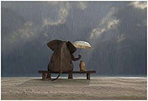 (13x19) Elephant And Dog Sit Under The Rain by Mike_Kiev Poster