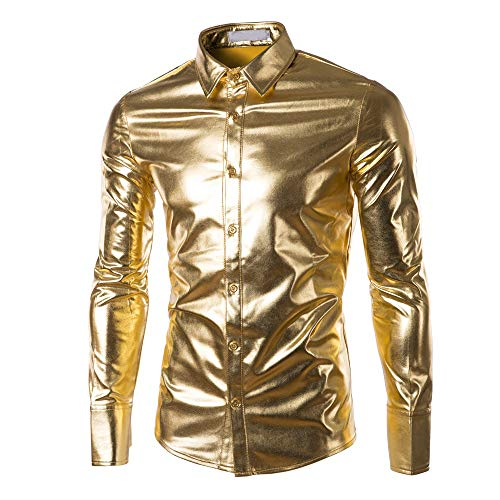 Geilisungren Herren Hemd Metallic Glänzend Langarmshirt Mode Bügelfreie Glitzer Slim Fit Umlegekragen Knöpfen Hemden Kostüm für Nightclub Party Tanzen Disco Halloween Cosplay (Gold Leopard Disco Kostüm Shirt)