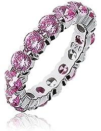 Bling Jewelry Plata Esterlina CZ Color Rosa Anillo de Eternidad