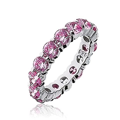 Bling Jewelry Sterling Silber Rosa CZ Stapelbar Ring