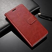 Febelo () Vintage Leather Magnetic Lock Wallet Flip Cover Case for Redmi Y1/Redmi Y1 Lite - Vintage Brown