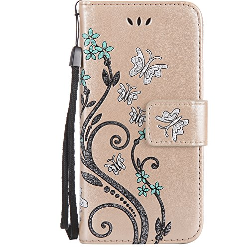 Schutzhülle für Apple iPhone 6 Plus / 6S Plus Rose Gold, TOCASO Ultra Thin PU Leder Hülle Flip Cover Tasche Ledertasche Handytasche Bunte Pattern Datura Blumen per iPhone 6 Plus / 6S Plus Buchstil Han Golden ,Schmetterling