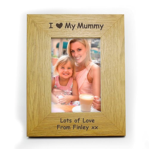 Price comparison product image Personalised Oak Veneer Finish 6x4 I Heart Wooden Photo Frame Personalised Personalised This 6x4 Oak