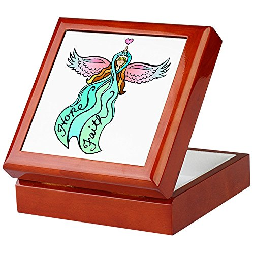 CafePress-Blaugrün Engel-Keepsake Box, fertig Hartholz Jewelry Box, Samt Gefüttert Memento Box mahagoni -