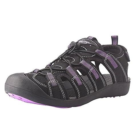 GRITION Sandales De Randonnée Pour Femme Sandales Fermées Violet & Noir (40 EU, Violet)