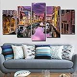 RMRM Lienzo Imagen de Arte Modular Imprimir Pintura con Barco Enmarcado Puente del Lago Venecia Al Atardecer Paisaje Moderno 5 Panel Home Decoración de Pared 20x35cm20x45cm 20x55cm