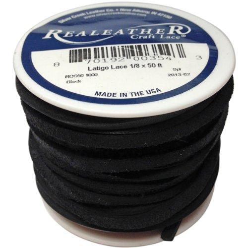 Realeather Crafts Leder Latigo Spitze spool-black (Trimmer Craft)