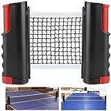 Rete da Ping Pong, Regolabile Accessori da Ping-Pong Portatile e Estraibile Rete da Tavolo, Allungabile Fino a 170 cm, Fino a 5 cm Spessore Piano del Tavolo per Esterno e Interno - (Nero e rosso)