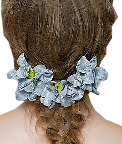 Y-BOA 2PC Pince à Cheveux Mariée Coiffure Fleur Cristal Fantaisie Parure Pour Cheveux Mariage (Bleu)