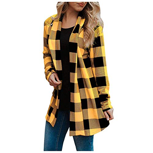 Donna Casual Maniche Lunghe Plaid Stampa Cardigan Giacca(Giallo,S)