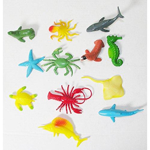 Lg-Imports 12x Spielfiguren Unterwasser Welt Tier Sammlung Hai Schildkröte Kunststoff bunt