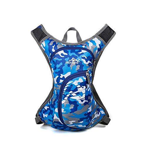 HWJF Reittasche Outdoor Freizeittasche Wasserdichte Nylon Camping Tasche Fahrradtasche Multifunktions Rucksack camouflage blue