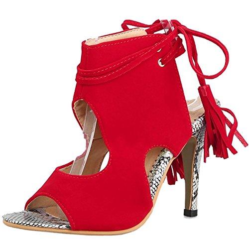 TAOFFEN Femmes Peep Toe Bottillons Sandales Aiguille Talons Hauts Lacets Open Back Ete Chaussures Rouge