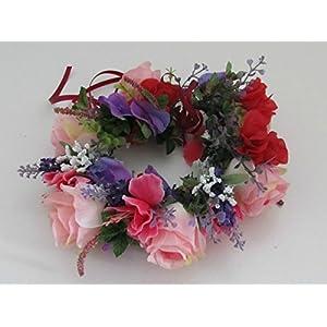 Haarkranz Rosen Blumenkranz Haarkranz Blumen Blumendekoration Brautkranz Hochzeit Oktoberfest Sommerabend