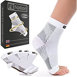 Fit Nation - (2 Paar) Kompressionssocken / Fußgelenk Bandage für effektive Kompression beim Laufen & Sport - Kompressionsstrümpfe für Damen & Herren Weiß S/M