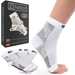 FIT NATION - (2 Paar Kompressionssocken/Fußgelenk Bandage für effektive Kompression beim Laufen & Sport - Kompressionsstrümpfe für Damen & Herren Weiß S/M