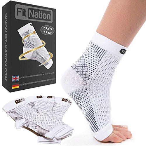 Fit Nation - (2 Paar Kompressionssocken/Fußgelenk Bandage für effektive Kompression beim Laufen & Sport - Kompressionsstrümpfe für Damen & Herren Weiß L/XL
