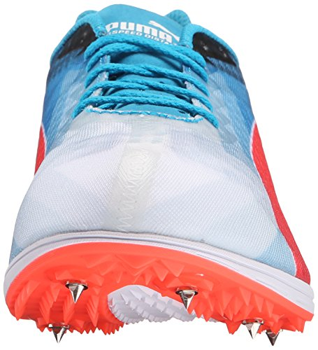 Puma evoSPEED Distance V6 Track Cleat Synthétique Baskets White-Atomic Blue-Red Blast