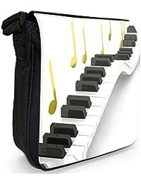 Waving Piano Keys Making Golden Music Notes Small Black Canvas Shoulder Bag / Handbag