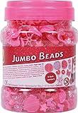 Lena 32719 - Bastelset Jumbo Box Perlen, Fädelperlen aus Kunststoff, Perlenset für Kinder ab 3 Jahre, Dose mit Perlen in verschiedenen Farben und Formen, Schnüre und Verschlüsse zum Schmuck basteln
