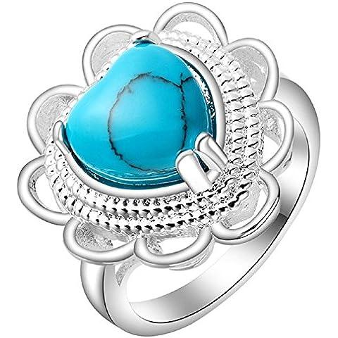 Bling Fashion placcati in oro bianco 18 k, a forma di cuore, motivo floreale, lati con anelli, colore: turchese