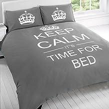 """Just Contempo - Juego de funda nórdica y funda de almohada (algodón y poliéster), diseño con texto """"Keep calm It's time for bed"""", polialgodón, gris, funda de edredón individual"""