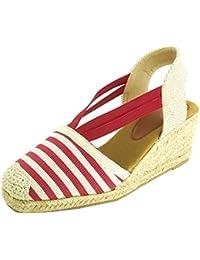 51a6e3625e345e Sopily Moda Donna Scarpe Espadrillas Sandali - Alla Caviglia - Chiusura con  Elastico - Fibbia - Cordoncino Piattaforma con Zeppa Tacco…