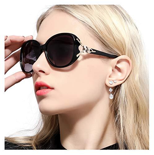 FIMILU Sonnenbrillen Damen Über-Groß, Retro Designer-polarisiert Brille Frauen, 100% UVA/UVB Schutz (Schwarz,Grau)
