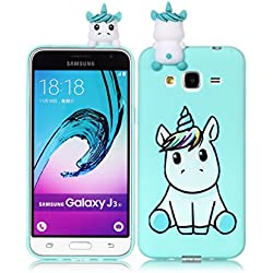 Coque pour Samsung Galaxy J3(2015)/J3 2016, Coffeetreehouse Coque 3D Neuf Design pour Samsung Galaxy J3(2015)/J3 2016 - Licorne
