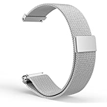 Gear S2 Classic Watch Correa, MoKo Milanese Loop Stainless Steel Bracelet Smart Watch Strap for Samsung Gear S2 Classic SM-R732 with Unique Magnet Lock, No Buckle Needed - Plata